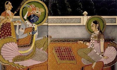 Indyjscy bogowie Kriszna i Radha grają w czaturangę
