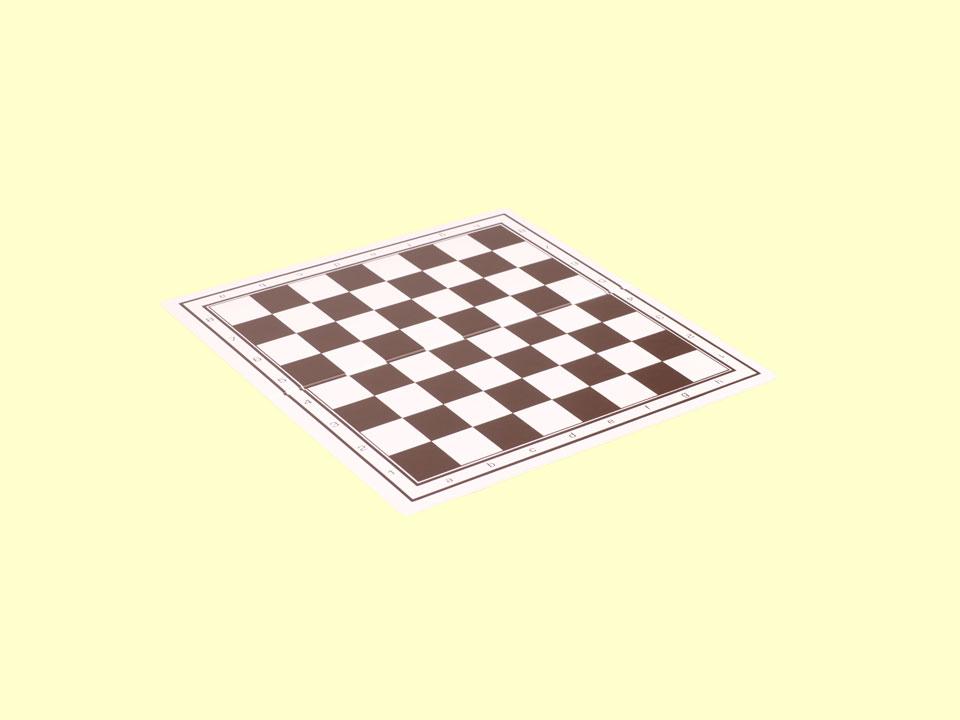 Mała, składana szachownica plastikowa, oznaczona literami i cyframi.