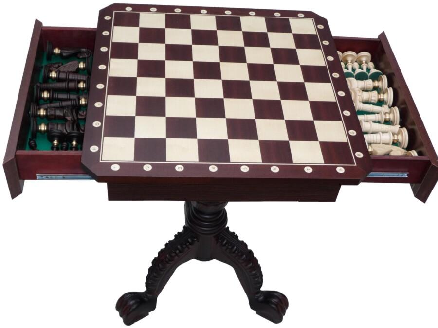 Stolik szachowy w kolorze ciemny mahoń (wysokość 75 cm) - bez figur